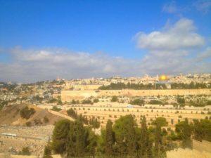 Blick vom Ölberg auf den Tempelberg von Jerusalem