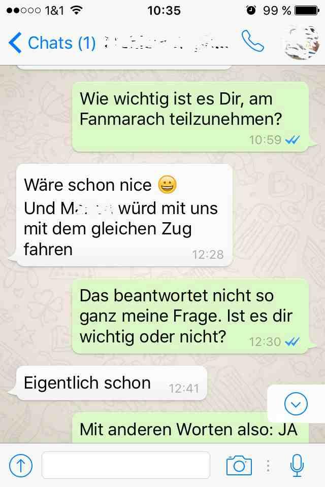 Eigentlich, WhatsApp Dialog 1